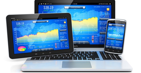 Gadgets displaying business accounting software