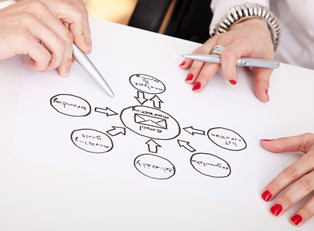 Partners planning an email marketing campaign