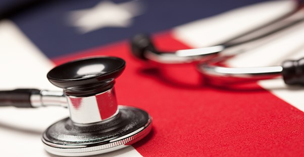 stethoscope on an american flag