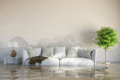 couch in a flooded living room