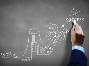 Hand drawing an image on a chalk board to represent the path to successfully starting a business