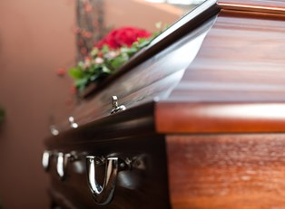 Casket at a funeral covered by burial insurance