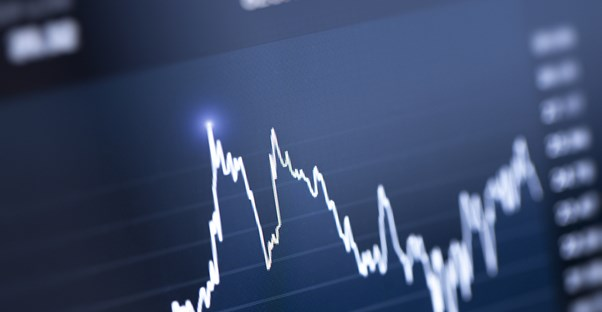 A graph of the fluctuations in the stock market