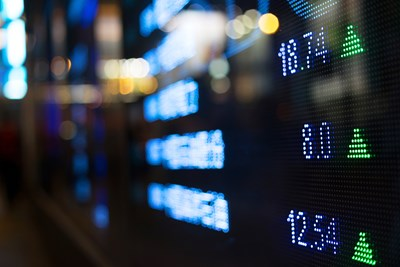 A view of a screen that shows stock prices
