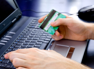 Person entering credit card number online