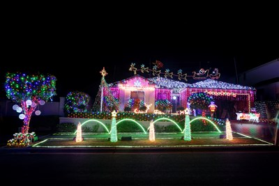 House decorated with LED christmas lights