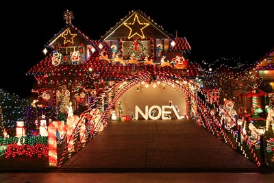 An extravagant Christmas light display