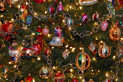 a tree full of cheap christmas ornaments