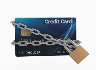 Secured credit card shown as a credit card with a padlock