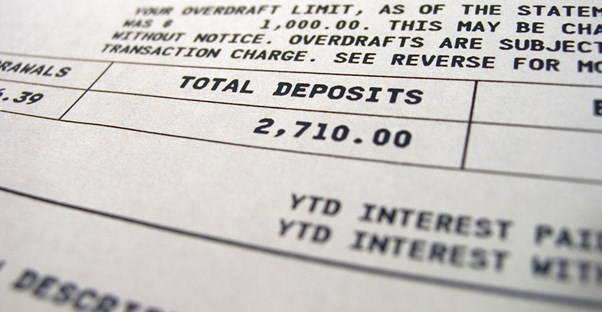 Receipt from a deposit to a checking account