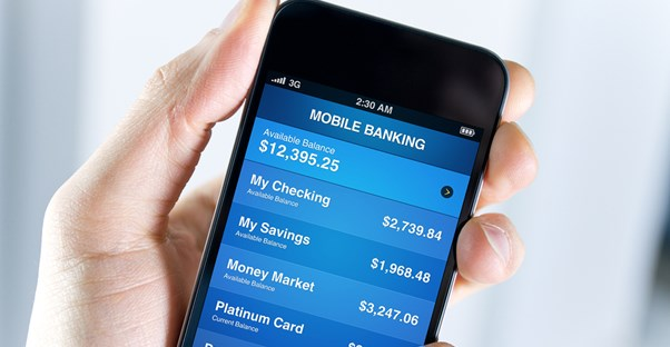 Person using mobile banking on their smartphone