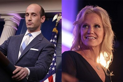 Stephen Miller and Kellyanne Conway