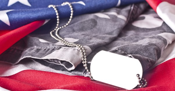 dog tags, an American flag, and and army uniform