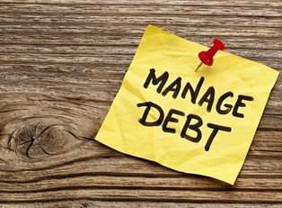 a note reminding someone to seek out a debt management program