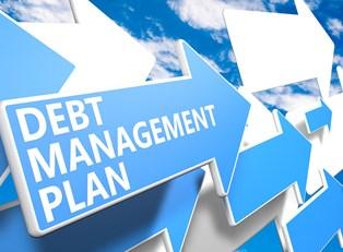 an arrow representing a debt management plan
