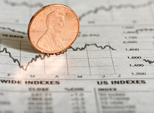 A penny traces fluctuations in penny stock