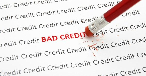 Red pencil erasing bad credit