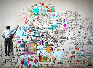 Man drawing a mural of the work involved in starting your own business