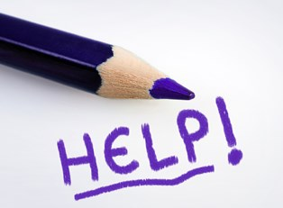 HELP written in purple pencil by a student who was rejected for financial aid.