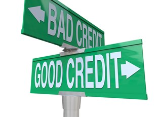 Good Credit Bad Credit Street Sign