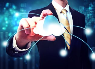 A digital representation of what the cloud does being held by a business man.