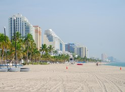 Beach full of timeshare condos